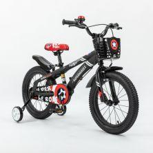 LITTLE ANGEL 16-INCH BICYCLE - SUPERHEROES MATT BLACK